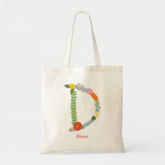 Tote Bag Monogramme lunatique rustique de fleur (d)