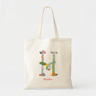 Tote Bag Monogramme lunatique rustique de fleur (h)