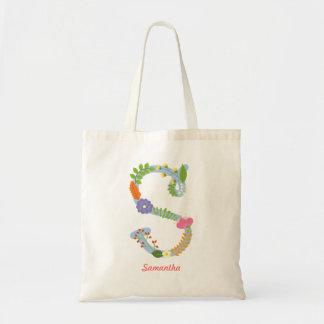 Tote Bag Monogramme lunatique rustique de fleur (s)