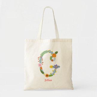 Tote Bag Monogramme lunatique rustique (G) de fleur