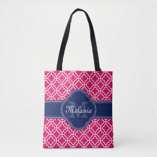 Tote Bag Monogramme marocain blanc rose de marine de motif