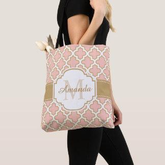 Tote Bag Monogramme marocain Girly de rose d'or de motif
