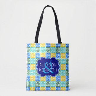 Tote Bag Monogramme méditerranéen de tuiles de mode à la