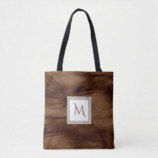 Tote Bag Monogramme moderne de marbre subtil foncé simple