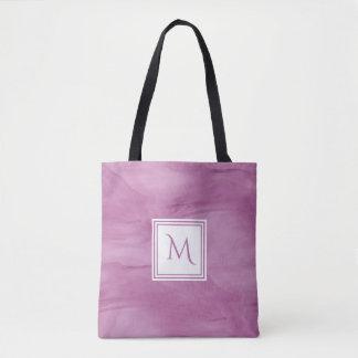 Tote Bag Monogramme moderne de marbre subtil mauve-clair