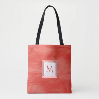 Tote Bag Monogramme moderne de marbre subtil orange rouge