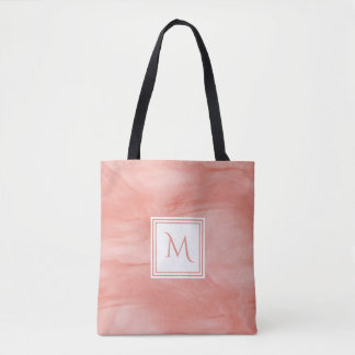 Tote Bag Monogramme moderne de marbre subtil rose de corail