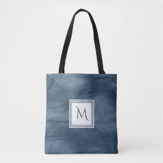 Tote Bag Monogramme moderne de marbre subtil simple de bleu