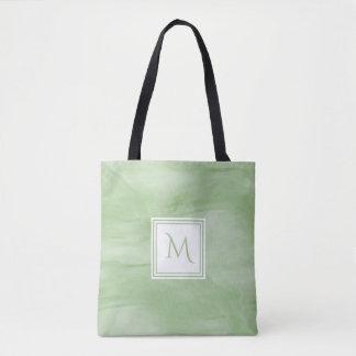 Tote Bag Monogramme moderne de marbre subtil vert clair