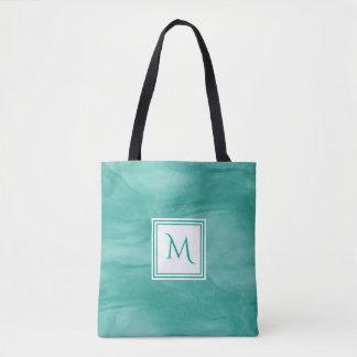 Tote Bag Monogramme moderne de marbre subtil vert turquoise