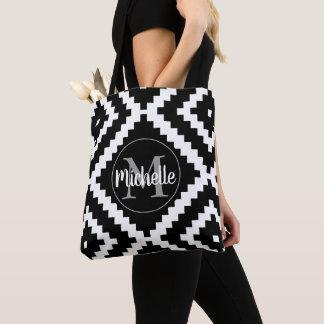 Tote Bag Monogramme noir ethnique de Personalizable
