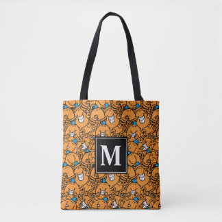 Tote Bag Monogramme orange du motif | de chatouillement de