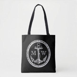 Tote Bag Monogramme personnalisable d'ancre et de guirlande