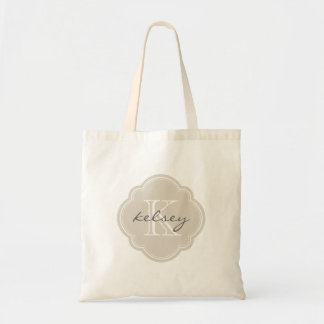 Tote Bag Monogramme personnalisé par coutume beige de toile