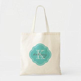 Tote Bag Monogramme personnalisé par coutume de turquoise