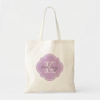 Tote Bag Monogramme personnalisé par coutume pourpre lilas