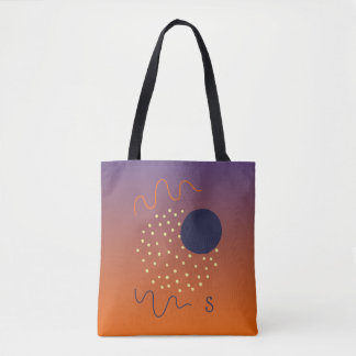 Tote Bag Monogramme Pourpre-Orange de conception abstraite