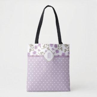 Tote Bag Monogramme rose de point de polka de lavande