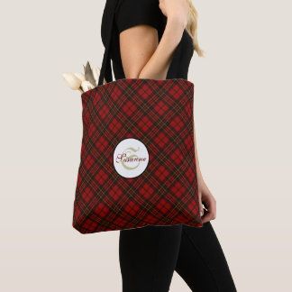 Tote Bag Monogramme rouge adorable de motif de tartan de
