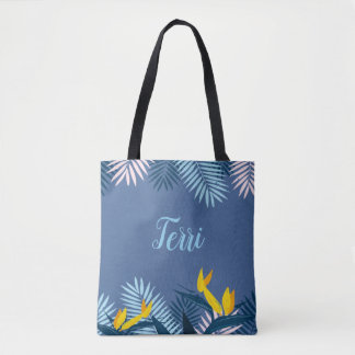 Tote Bag Monogramme tropical bleu moderne de paradis