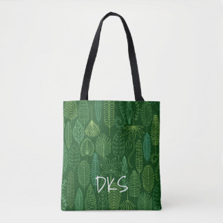 Tote Bag Monogramme tropical du feuille | d'aquarelle