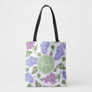 Tote Bag Monogramme vert en pastel floral lilas de lavande
