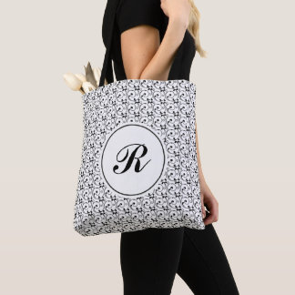 Tote Bag Monogramme victorien noir et blanc de remous