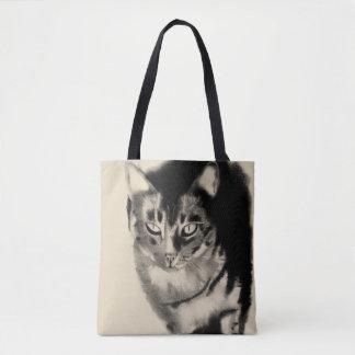 Tote Bag Monsieur mon dessin de fusain de chat tigré
