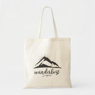 Tote Bag Montagne avec des Sunrays - typographie d'envie de