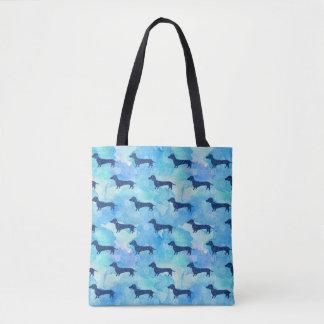Tote Bag Motif bleu de teckel d'aquarelle de parties