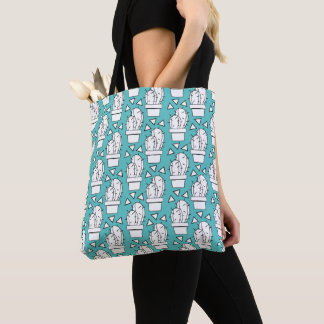 Tote Bag Motif bleu moderne de cactus