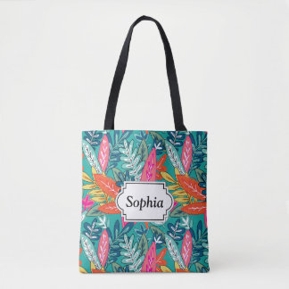 Tote Bag Motif coloré urbain de feuillage de jungle