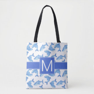 Tote Bag Motif de baleine bleue d'aquarelle