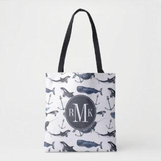 Tote Bag Motif de baleine et d'ancre d'aquarelle