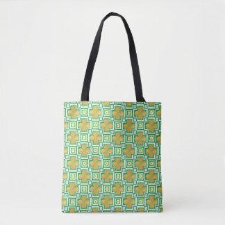 Tote Bag Motif de bloc d'aquarelle de vert de trèfle de
