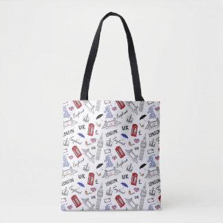 Tote Bag Motif de griffonnages de ville de Londres
