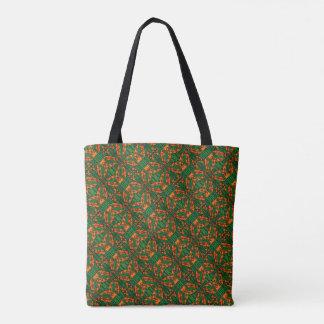 Tote Bag Motif de lézard orange et vert