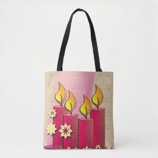 Tote Bag Motif de Noël bougies