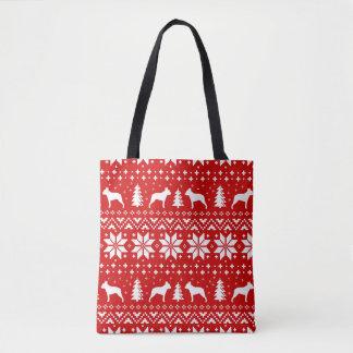Tote Bag Motif de Noël de silhouettes de Boston Terrier
