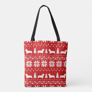 Tote Bag Motif de Noël de silhouettes de corgi de Gallois