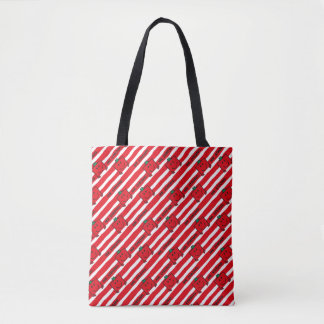 Tote Bag Motif de rayures de rouge de M. Strong |