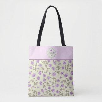 Tote Bag Motif de rose de lavande