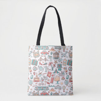Tote Bag Motif de touristes en pastel