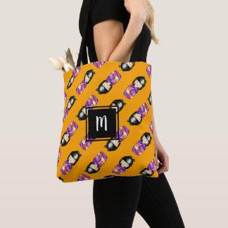 Tote Bag Motif décoré d'un monogramme de peinture