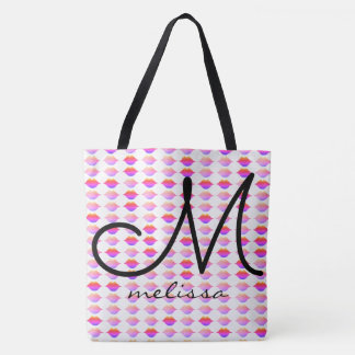 Tote Bag motif des lèvres roses avec le nom