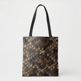 Tote Bag Motif écallieux de peau de serpent de Brown,
