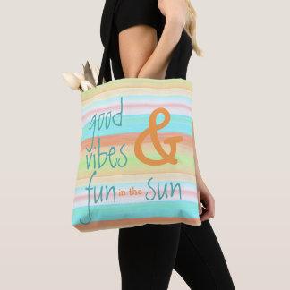 Tote Bag Motif en pastel lunatique classique de rayure