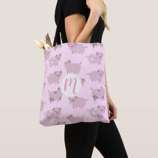Tote Bag Motif et points roses mignons de porcelets de bébé