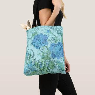 Tote Bag Motif floral bleu vintage de cachet de la poste de