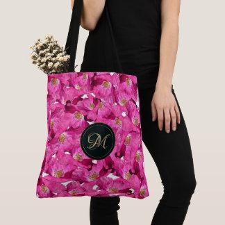 Tote Bag Motif floral de rose de pavots. Monogramme